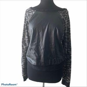 Victoria's Secret faux leather sweater. Size M